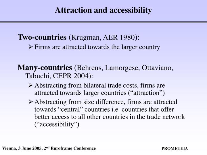 Attraction and accessibility
