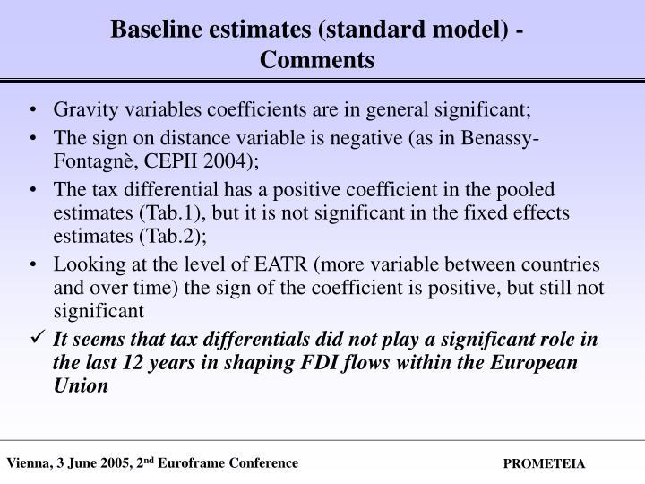 Baseline estimates (standard model) -