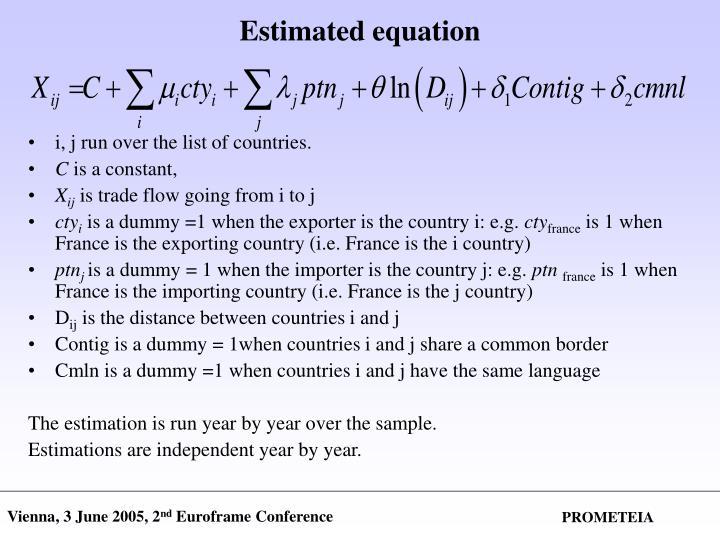 Estimated equation
