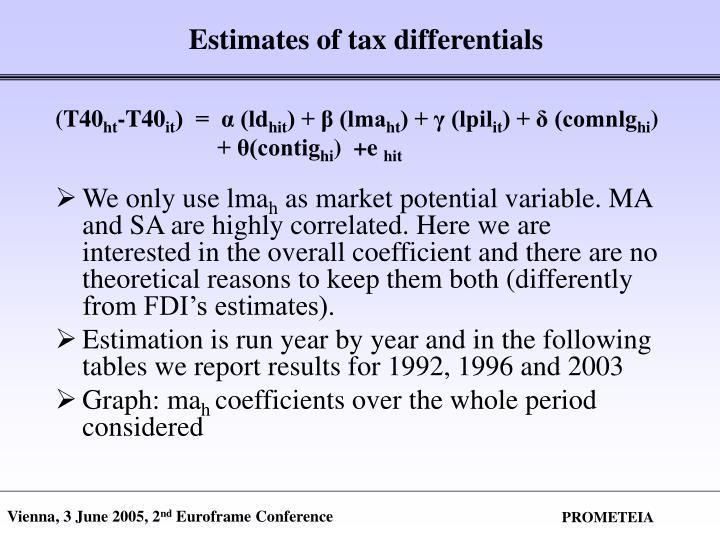 Estimates of tax differentials