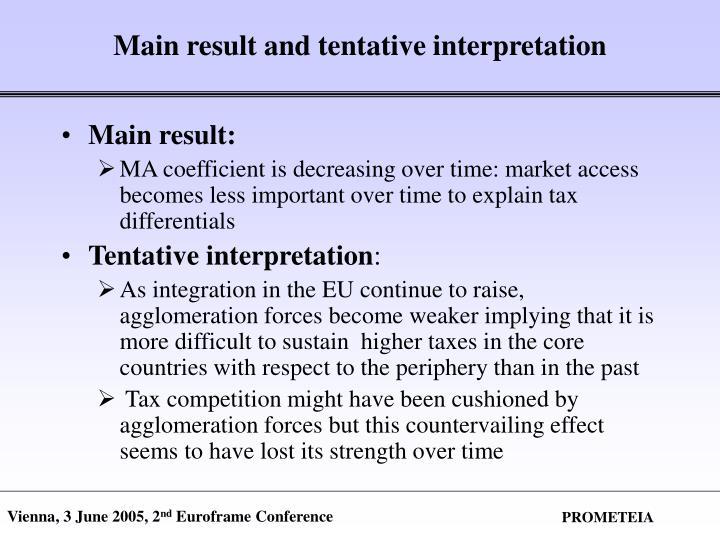 Main result and tentative interpretation