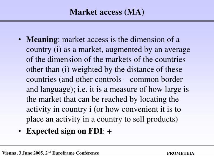 Market access (MA)