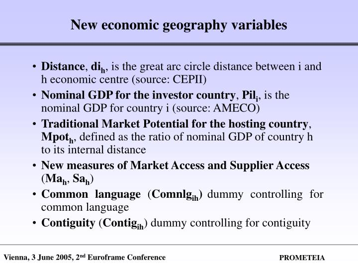 New economic geography variables