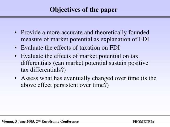 Objectives of the paper