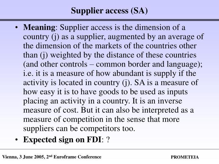 Supplier access (SA)