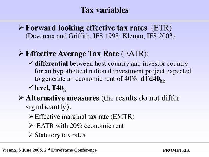 Tax variables