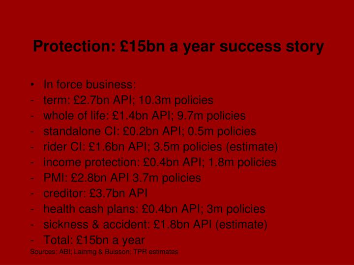 Protection: £15bn a year success story