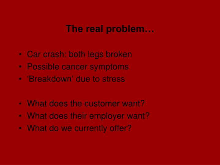 The real problem…