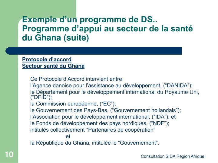 Exemple d'un programme de DS.. Programme d'appui au secteur de la santé du Ghana