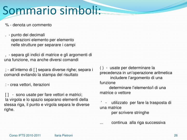 Sommario simboli: