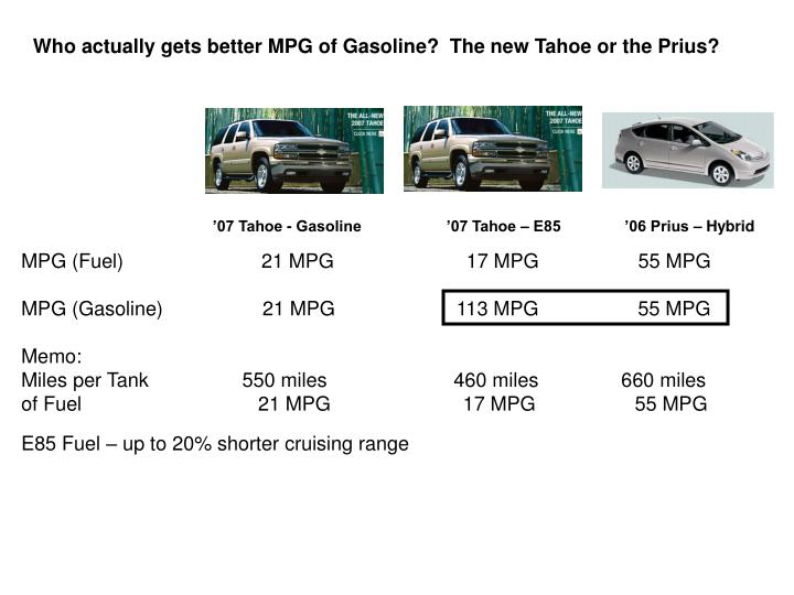 Who actually gets better MPG of Gasoline?  The new Tahoe or the Prius?