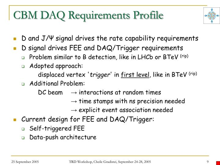 CBM DAQ Requirements Profile