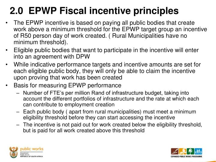 2.0  EPWP Fiscal incentive principles