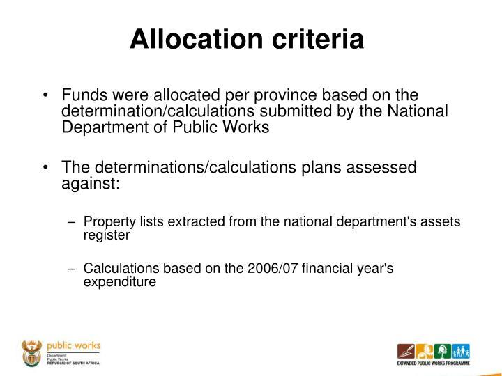 Allocation criteria