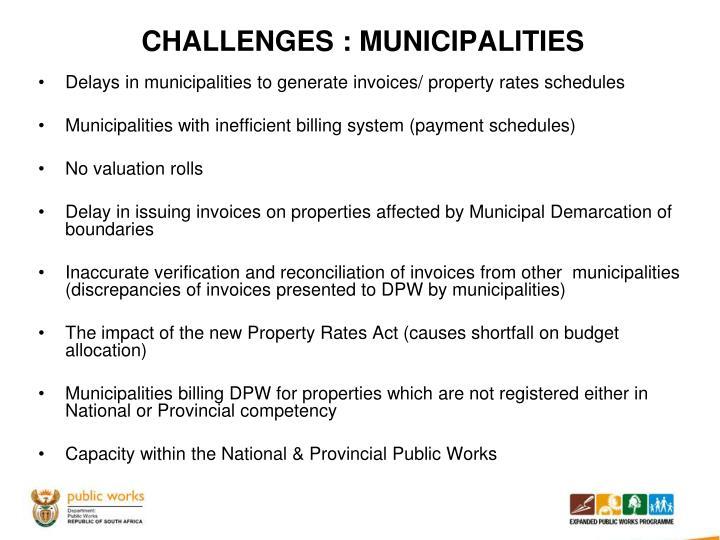 CHALLENGES : MUNICIPALITIES
