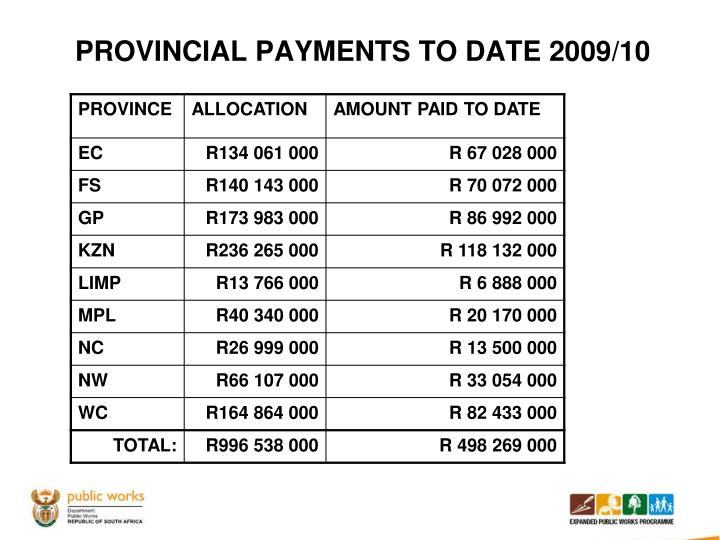 PROVINCIAL PAYMENTS TO DATE 2009/10