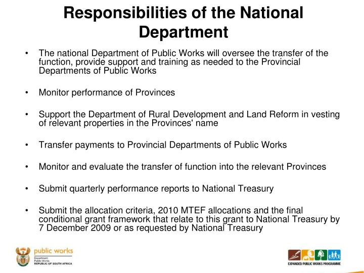 Responsibilities of the National Department
