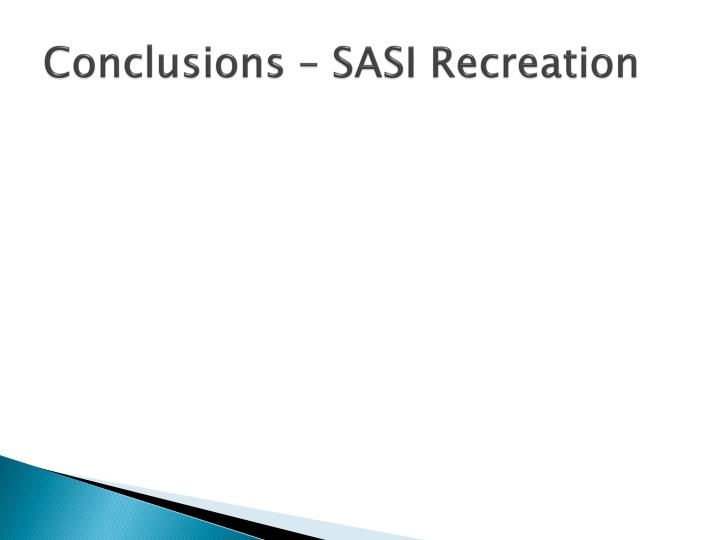 Conclusions – SASI Recreation