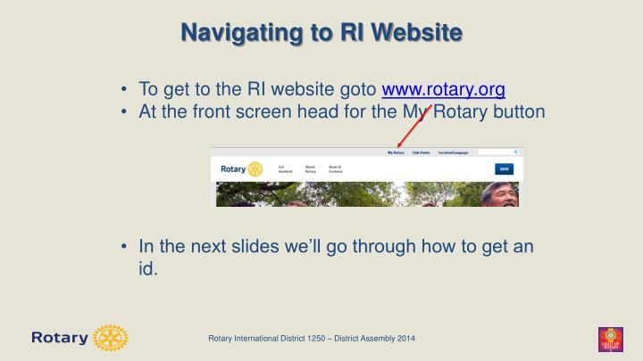 Navigating to RI Website