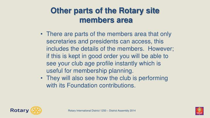 Other parts of the Rotary site