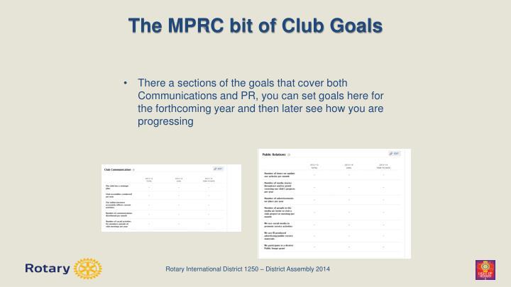The MPRC bit of Club Goals