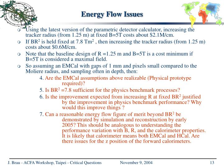 Energy Flow Issues