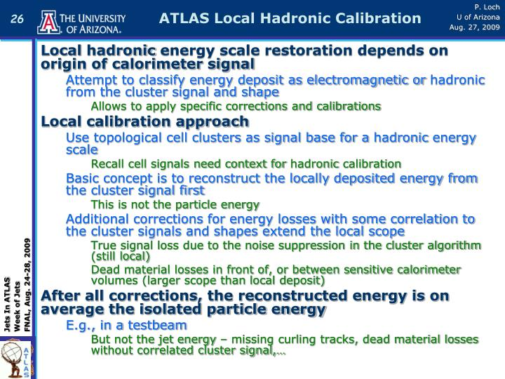 ATLAS Local Hadronic Calibration