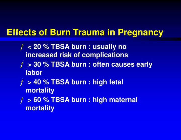 Effects of Burn Trauma in Pregnancy