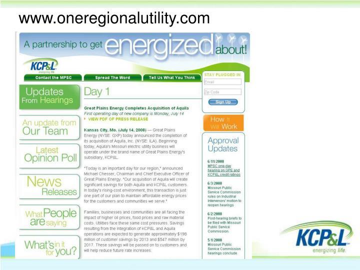 www.oneregionalutility.com