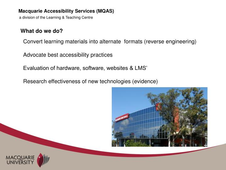 Macquarie accessibility services mqas