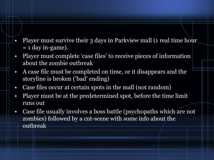 Player must survive their 3 days in Parkview mall (1 real time hour = 1 day in-game).