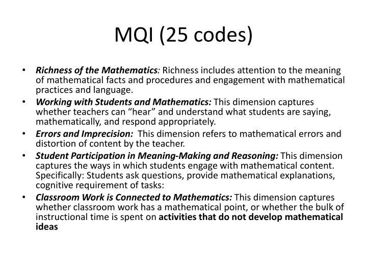 MQI (25 codes)