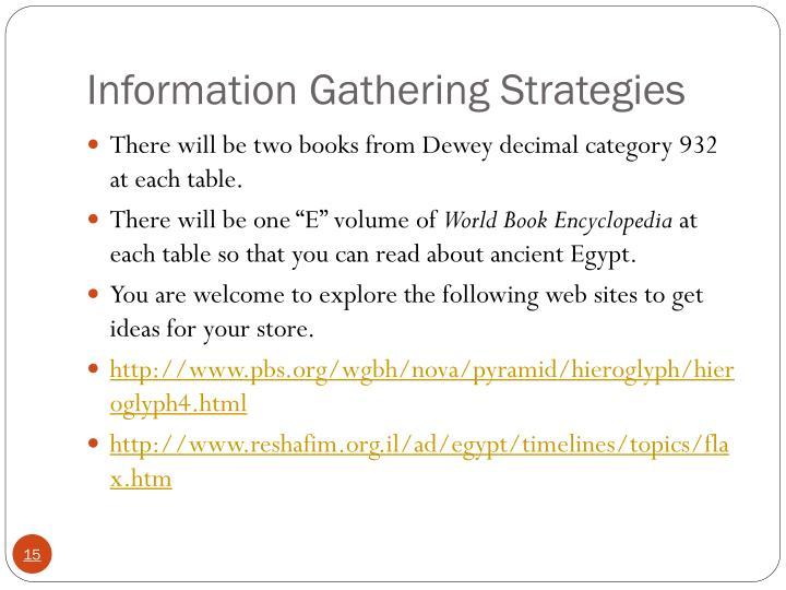 Information Gathering Strategies