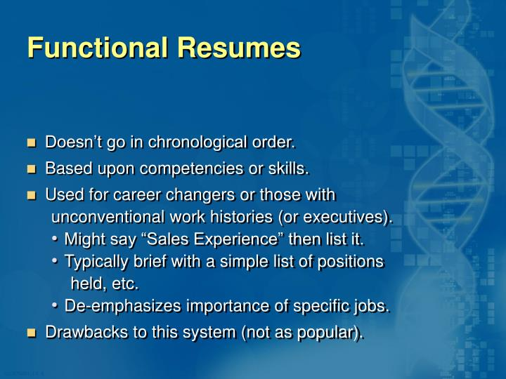 Functional Resumes