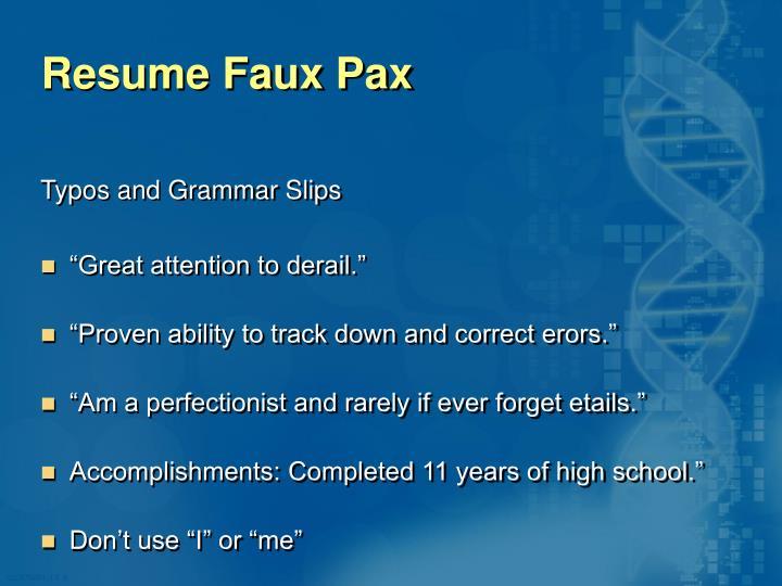 Resume Faux Pax