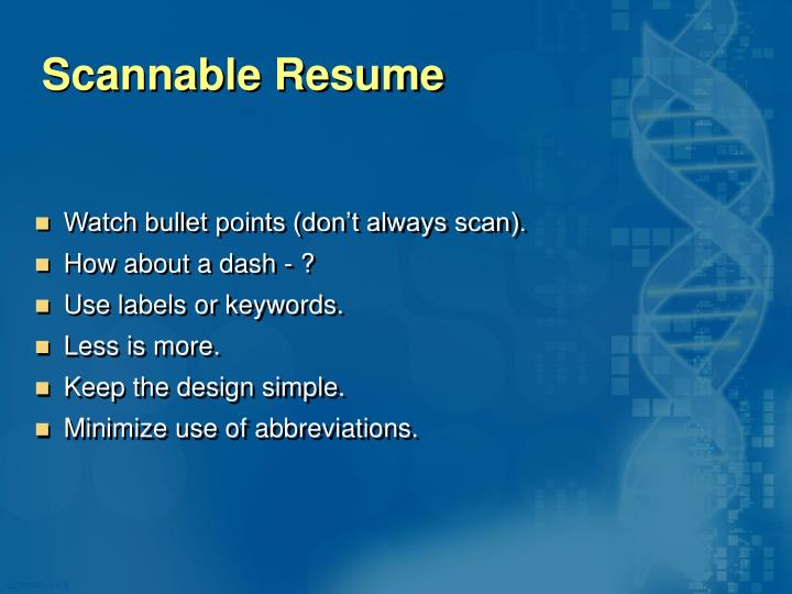 Scannable Resume