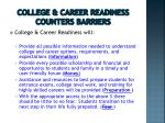 college career readiness counters barriers