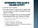 determining your major college activity