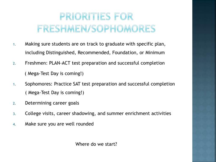 Priorities for freshmen sophomores