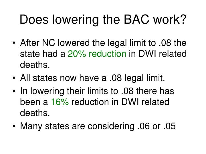 Does lowering the BAC work?