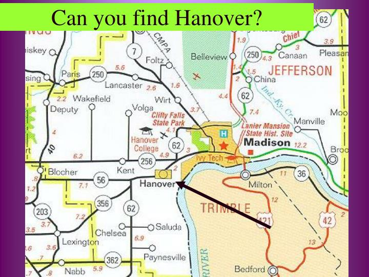 Can you find Hanover?