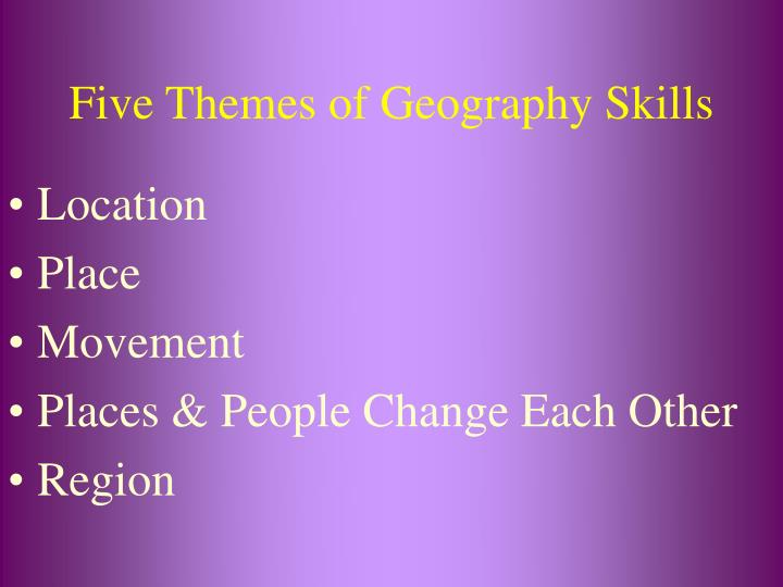 Five themes of geography skills