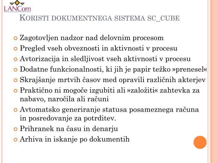Koristi dokumentnega sistema sc_