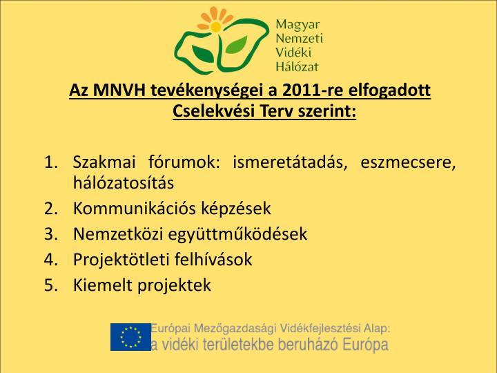 Az MNVH tevékenységei a 2011-re elfogadott Cselekvési Terv szerint: