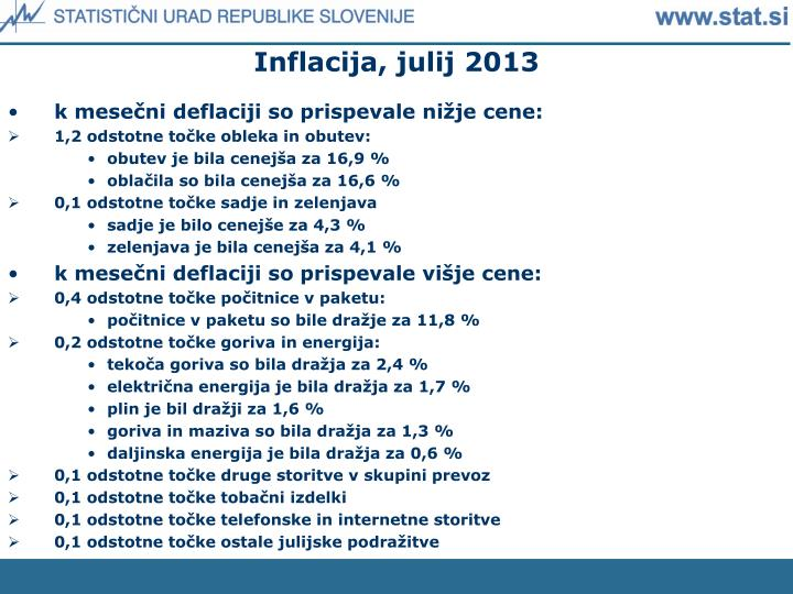 Inflacija, julij 2013