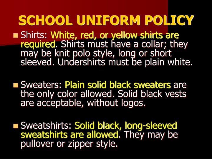 SCHOOL UNIFORM POLICY