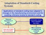 adaptation of standard costing systems