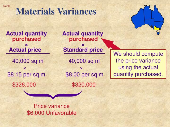 We should compute the price variance using the actual quantity purchased.