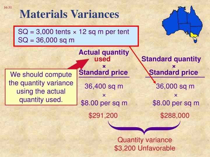 Materials Variances