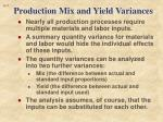 production mix and yield variances